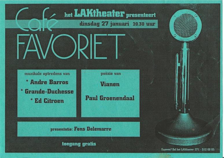 Affiche Café Favoriet 27 januari 2004