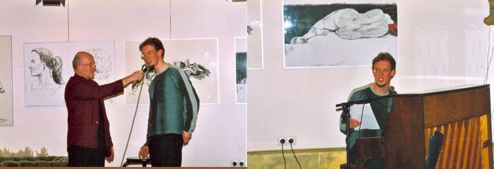 Geïnterviewd door Fons Delemarre (links); voordracht (rechts). Foto's Max de Ruiter
